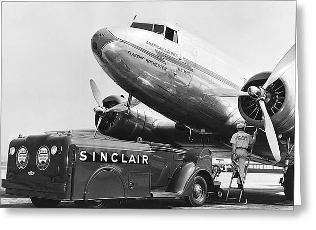 Fueling A Dc-3 Airliner Greeting Card