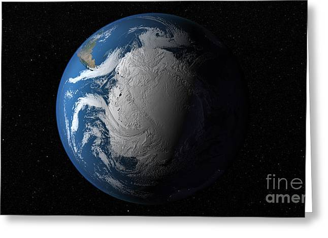Ful Earth Showing Simulated Clouds Greeting Card