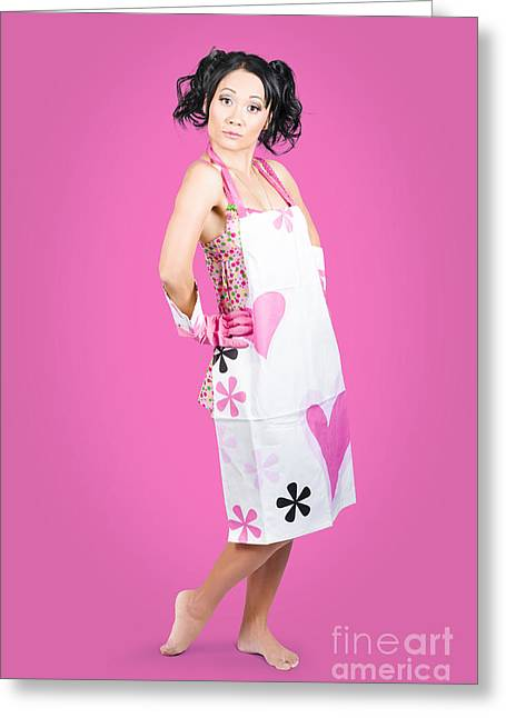 Full Body Housewife Wearing Apron Greeting Card