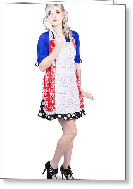 Full Length Pretty Girl Baking With Mixer Spoon Greeting Card by Jorgo Photography - Wall Art Gallery