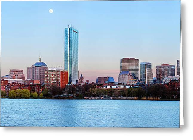 Full Moon Over Boston Greeting Card