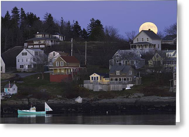 Full Moon Over Georgetown Island Maine Greeting Card by Keith Webber Jr