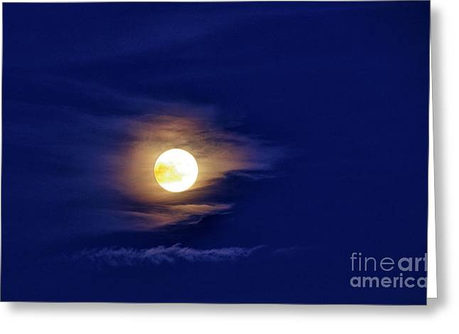 Full Moon With Clouds Greeting Card by Thomas R Fletcher