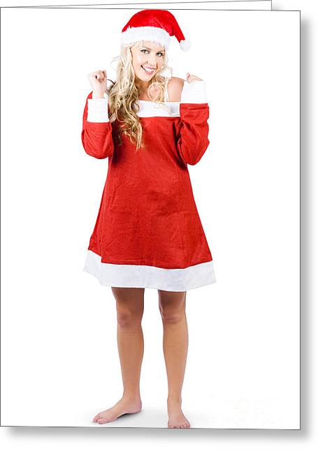 Fully Body Santas Little Helper Elf Looking Happy Greeting Card by Jorgo Photography - Wall Art Gallery