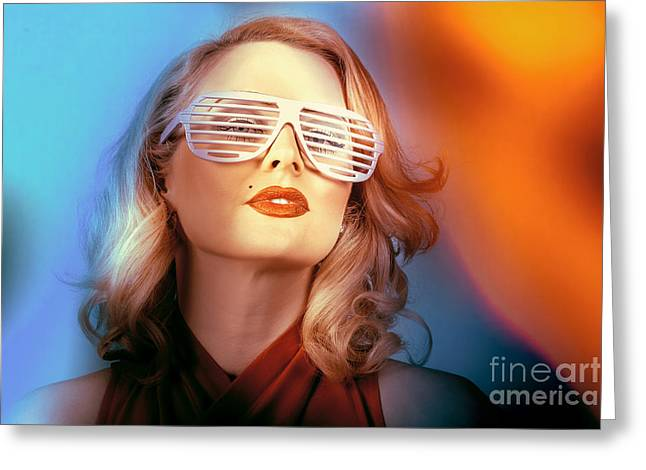 Funky Pin-up Fashion Girl In Retro American Style Greeting Card by Jorgo Photography - Wall Art Gallery
