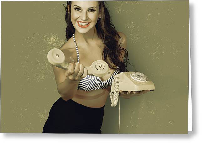 Funky Pinup Girl Handing Over A Vintage Telephone Greeting Card by Jorgo Photography - Wall Art Gallery