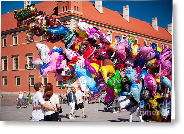 People In Love Watching Funny Balloons  Greeting Card