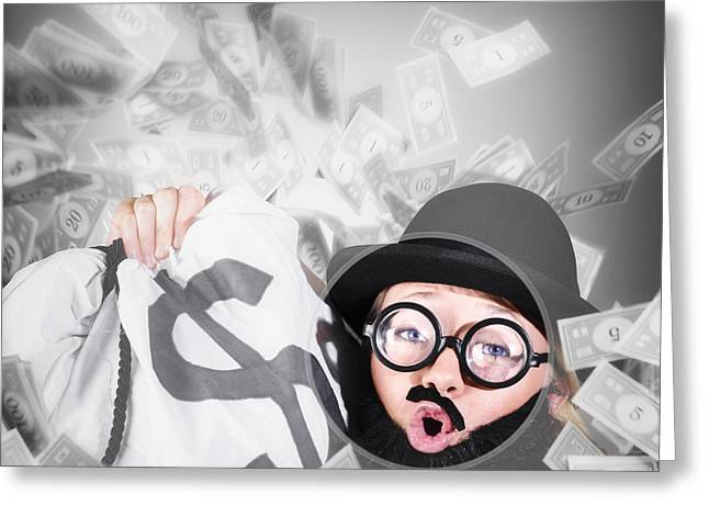 Funny Businessman With Falling Money. Success Greeting Card