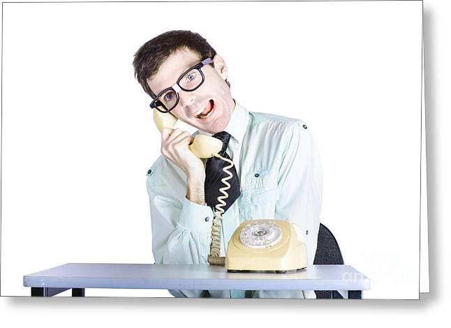 Funny Call Center Clerk Talking Nonsense Greeting Card