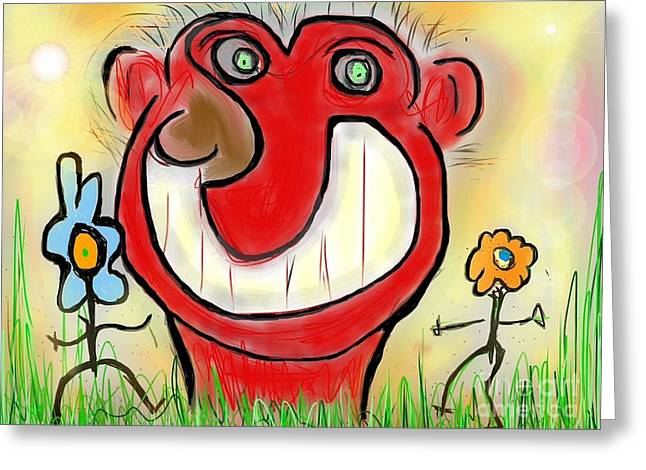 Funny Face Greeting Card by Susan Townsend