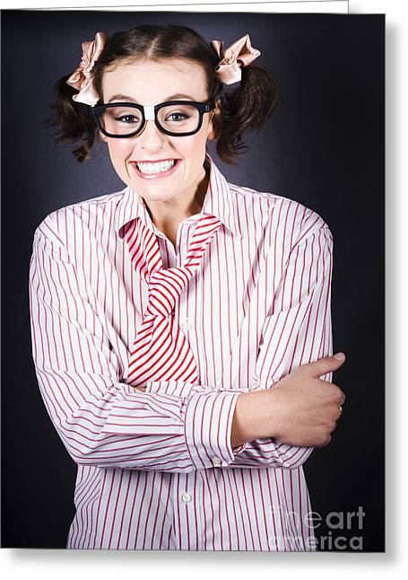 Funny Female Business Nerd With Big Geeky Smile Greeting Card by Jorgo Photography - Wall Art Gallery