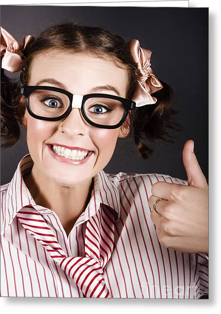 Funny Girl Showing Thumbs Up For All Is Good Greeting Card by Jorgo Photography - Wall Art Gallery