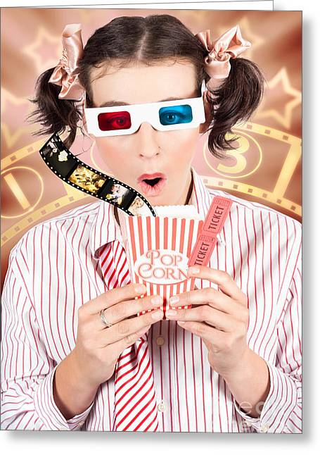 Funny Girl Watching 3d Movie At Cinema Greeting Card by Jorgo Photography - Wall Art Gallery