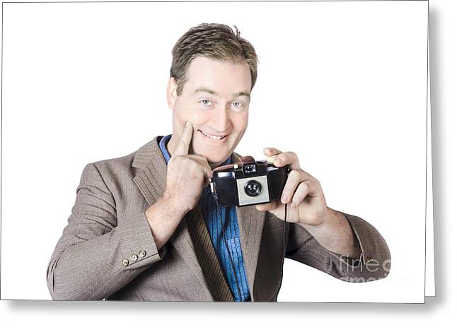 Funny Man Gesturing Big Smile With Vintage Camera Greeting Card by Jorgo Photography - Wall Art Gallery