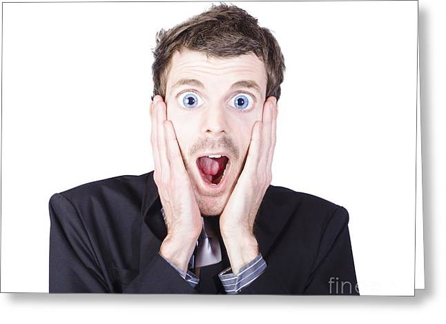 Funny Man With Crazy Surprised Look Greeting Card