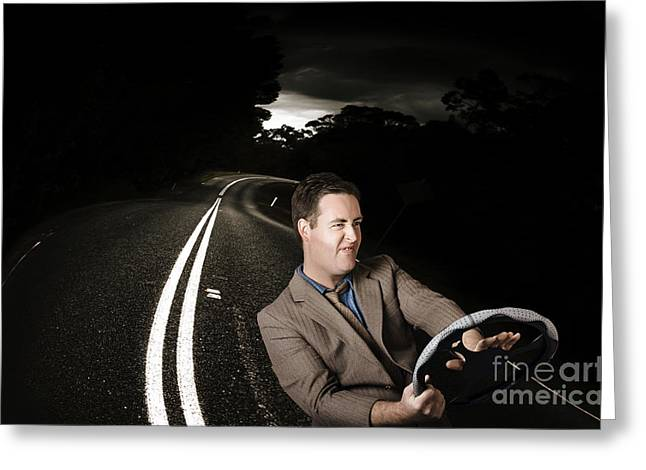 Funny Road Rage Man In Car Accident Greeting Card by Jorgo Photography - Wall Art Gallery