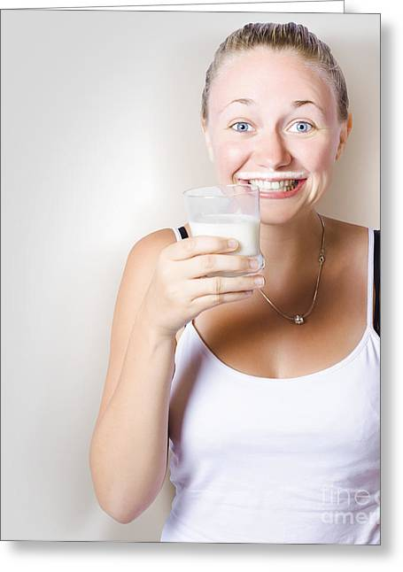 Funny Woman Smiling With Glass Of Full Cream Milk Greeting Card by Jorgo Photography - Wall Art Gallery