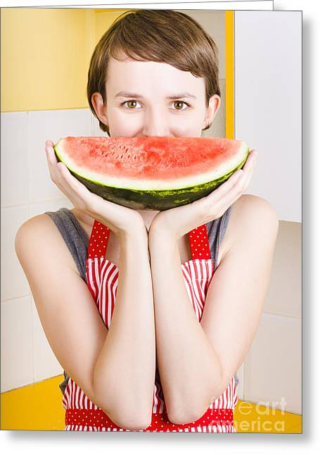 Funny Woman With Juicy Fruit Smile Greeting Card by Jorgo Photography - Wall Art Gallery