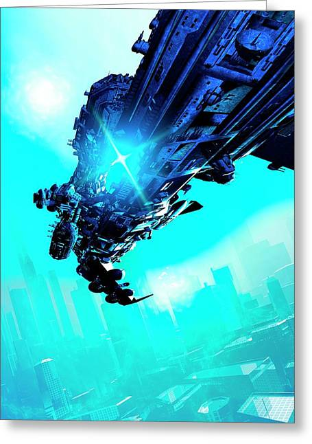 Futuristic Spacecraft Greeting Card by Victor Habbick Visions
