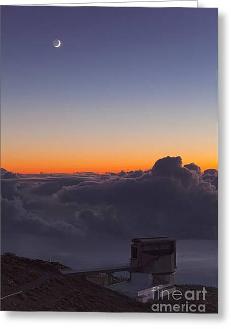 Galileo Telescope And Crescent Moon Greeting Card by Babak Tafreshi