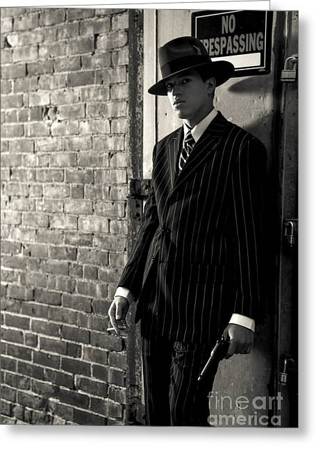 Gangster In The Shadows Greeting Card by Diane Diederich
