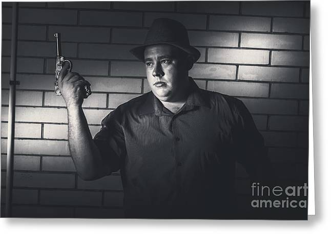 Gangster Man Surrendering During Armed Holdup Greeting Card by Jorgo Photography - Wall Art Gallery