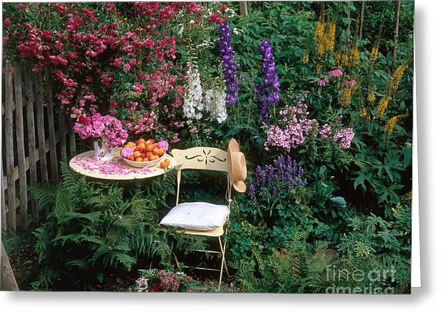 Garden With Chair Greeting Card by Hans Reinhard