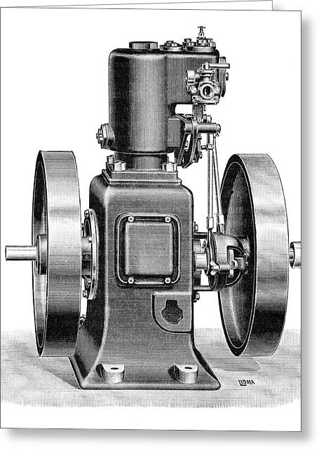 Gardner Gas Engine Greeting Card by Science Photo Library