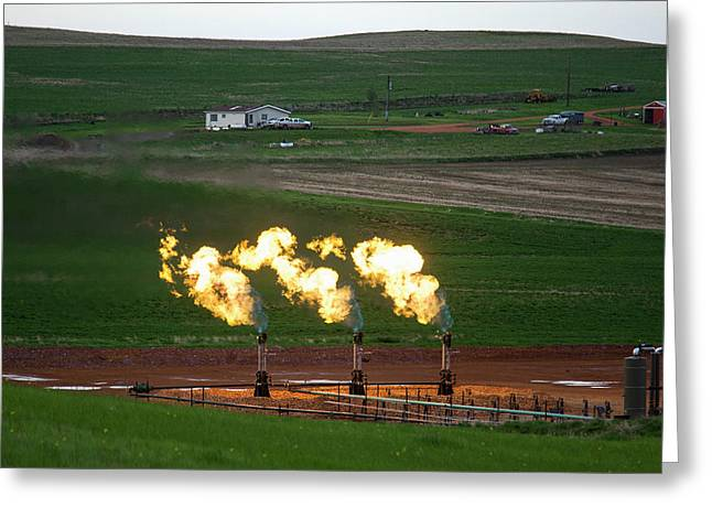 Gas Flares At An Oil Field Greeting Card