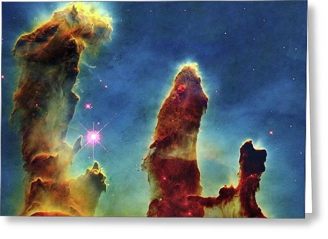 Gas Pillars In The Eagle Nebula Greeting Card by Nasaesastscij.hester & P.scowen, Asu