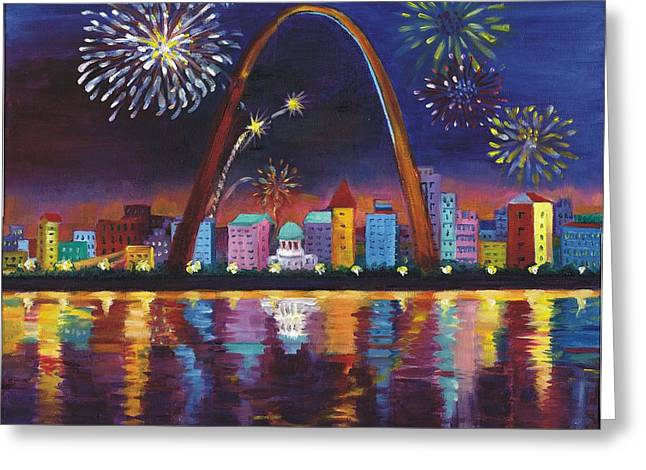 Greeting Card featuring the painting Gateway Arch by Ping Yan