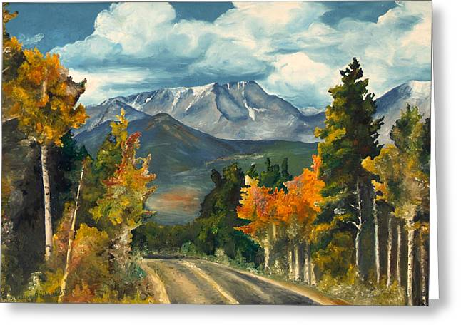 Greeting Card featuring the painting Gayle's Highway by Mary Ellen Anderson