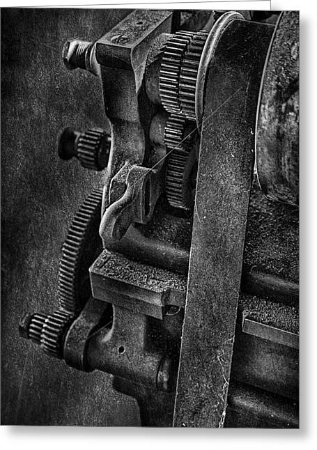 Gears And Pulley Greeting Card by Susan Candelario