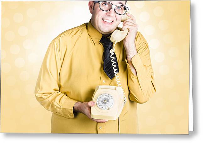 Geeky Businessman On Important Phone Call Greeting Card