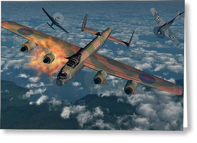 German Fw-190 Fighter Planes Attacking Greeting Card