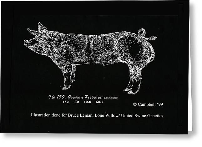 Greeting Card featuring the drawing German Pietrain Boar by Larry Campbell