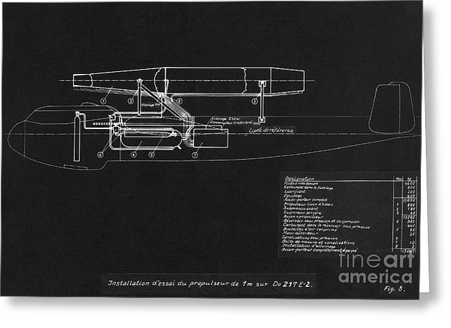 German Wwii Ramjet Bomber Blueprint Greeting Card