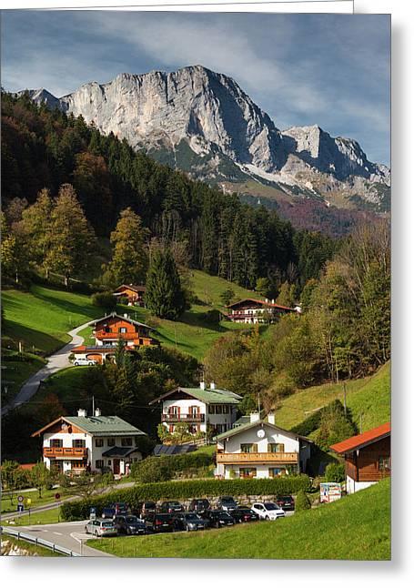 Germany, Bavaria, Maria Gern Village Greeting Card by Walter Bibikow
