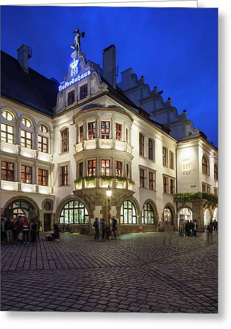 Germany, Bavaria, Munich, Hofbrauhaus Greeting Card by Walter Bibikow