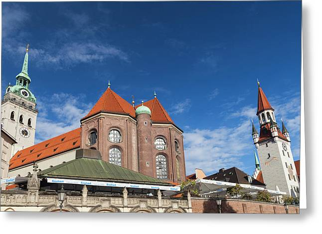 Germany, Bavaria, Munich, Peterskirche Greeting Card by Walter Bibikow