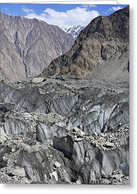 Ghulkin Glacier At The Karakorum Mountains In Pakistan Greeting Card by Robert Preston