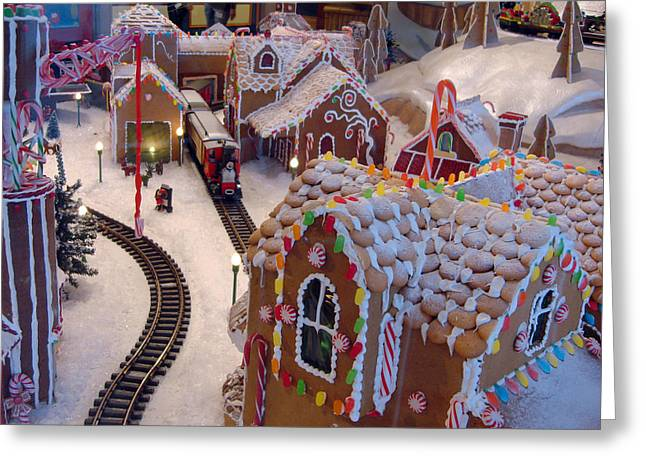 Gingerbread House Miniature Train Greeting Card by Ellen Tully