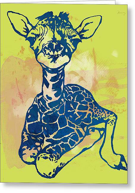 Giraffe - Stylised Pop Modern Etching Art Portrait Greeting Card by Kim Wang