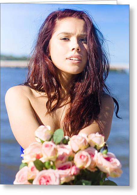 Girl Giving Rose Bouquet Greeting Card