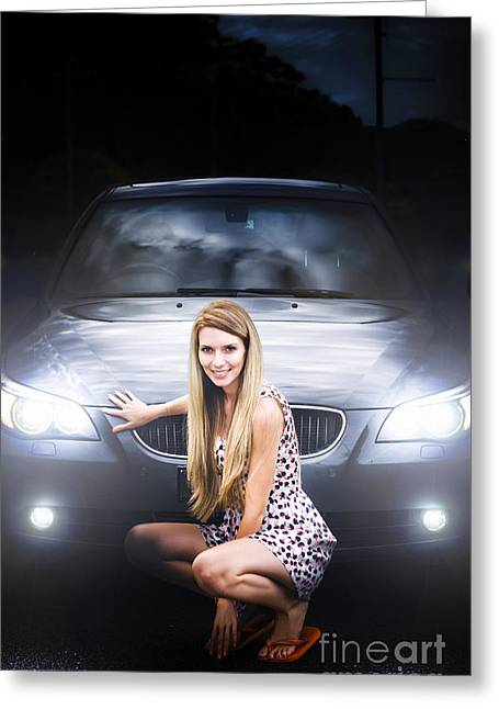 Girl In Front Of A Luxury Car Greeting Card by Jorgo Photography - Wall Art Gallery