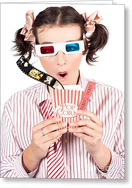 Girl In Pigtails Watching A 3d Comedy Movie Greeting Card by Jorgo Photography - Wall Art Gallery