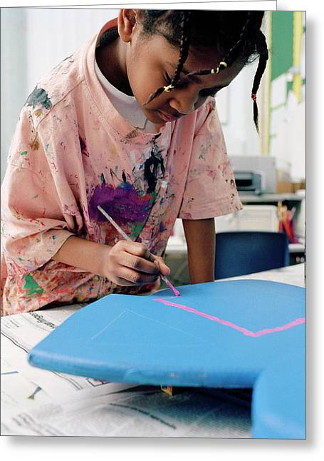 Girl Painting At School Greeting Card