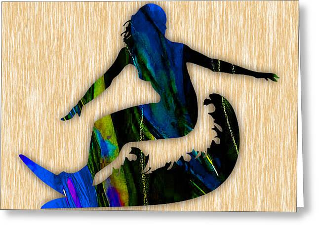 Girl Surfer Art Greeting Card by Marvin Blaine