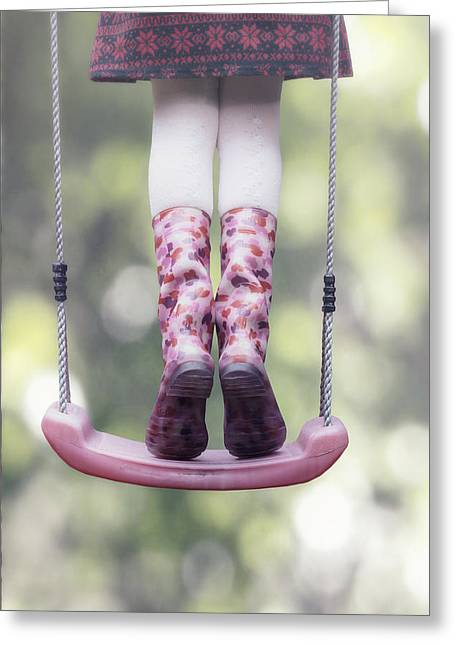 Girl Swinging Greeting Card by Joana Kruse