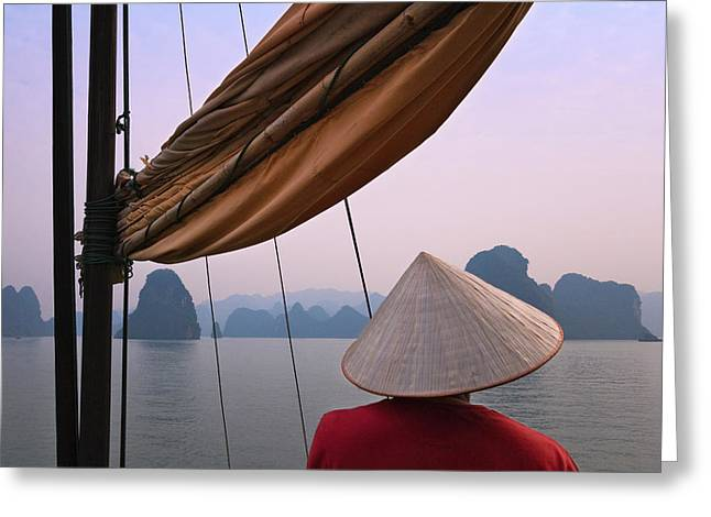 Girl With Conical Hat On A Junk Boat Greeting Card by Keren Su